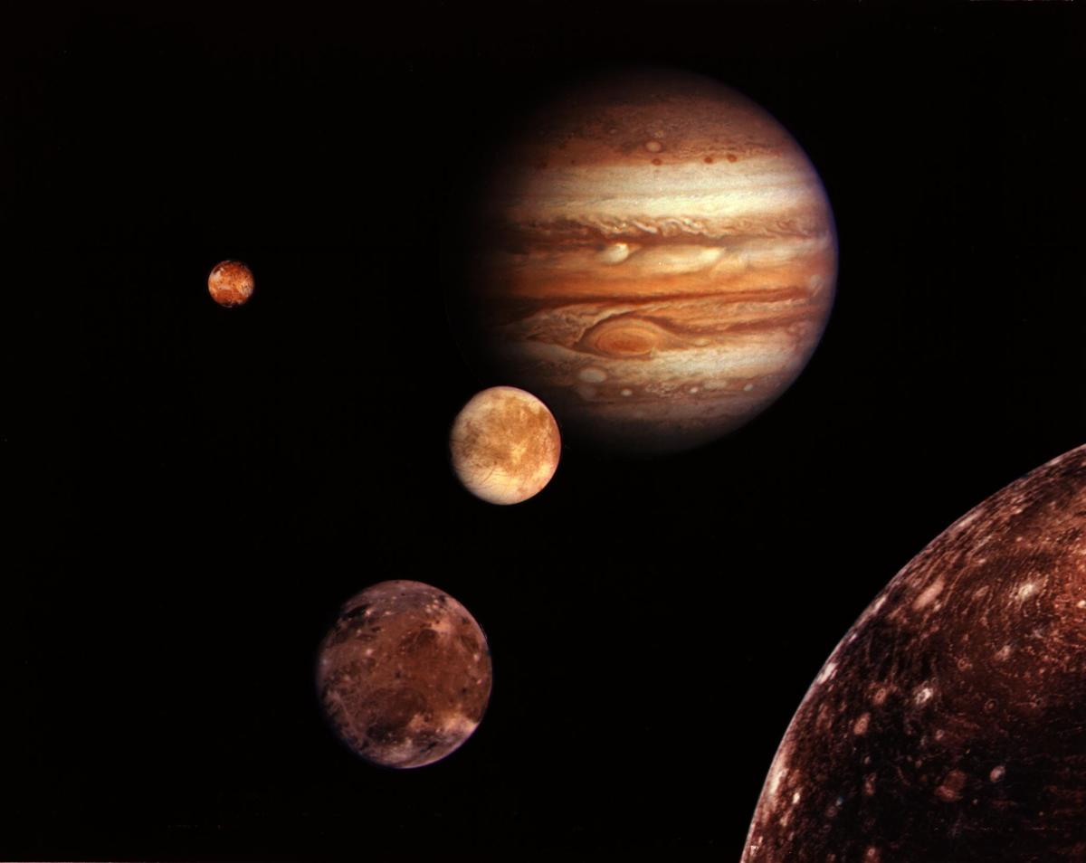 This is a depiction that shows you Jupiter's moons. This is not really scale, as its moons are much smaller than Jupiter in comparison.