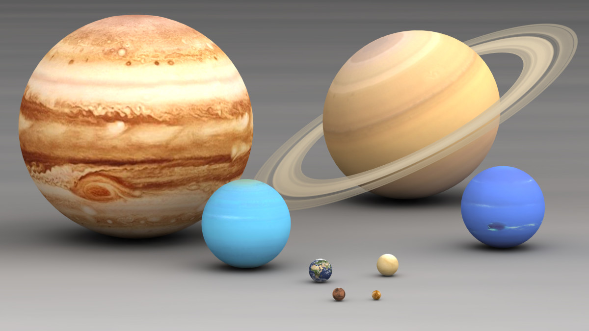 This shows all of the planets in size comparison. Jupiter is clearly the largest! Saturn is the next largest with Neptune and Uranus after that. Earth is very tiny in comparison to all of these.
