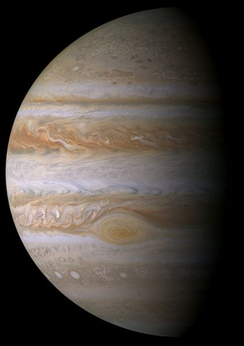 Jupiters images often show a spot on the surface, which is actually a huricane taking place.