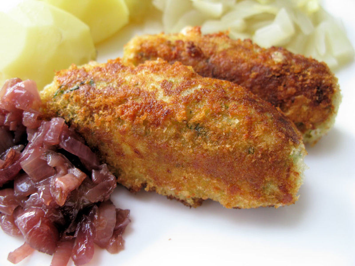 Vegetarian sausages fried in olive oil