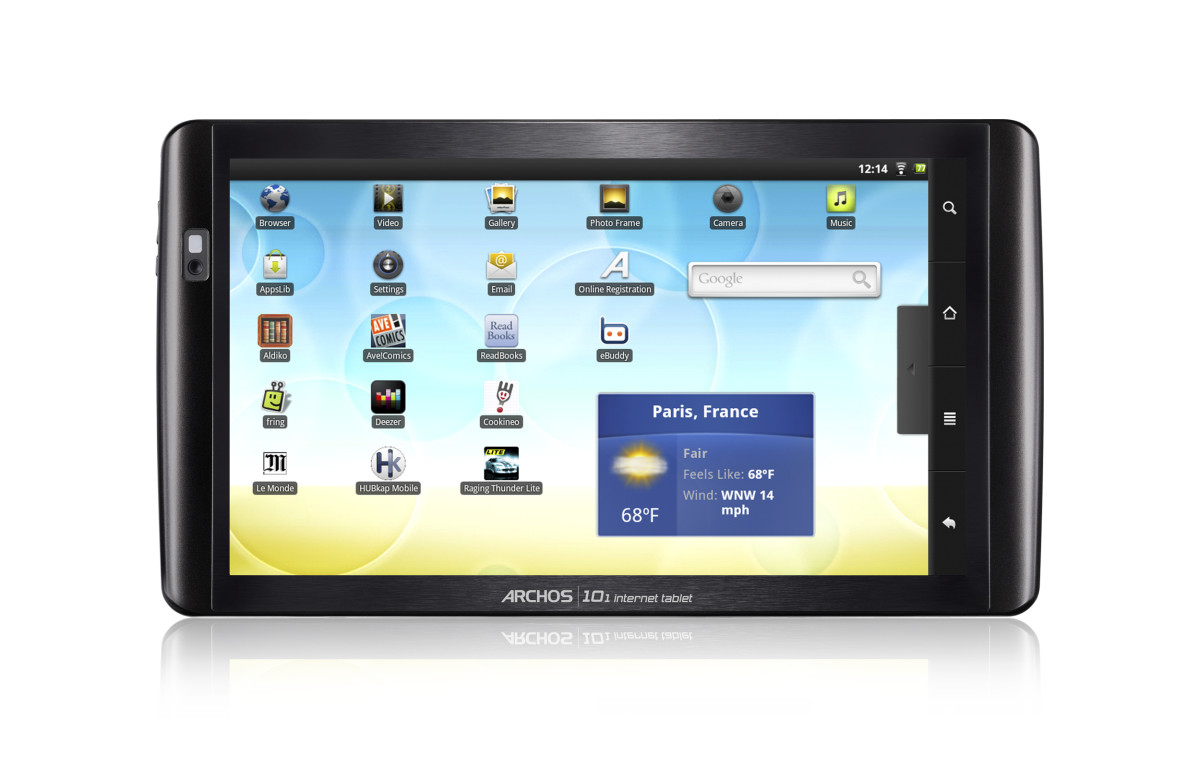 The Archos 101 tablet features a 10-inch touchscreen and comes with the Android 2.2 operating system.