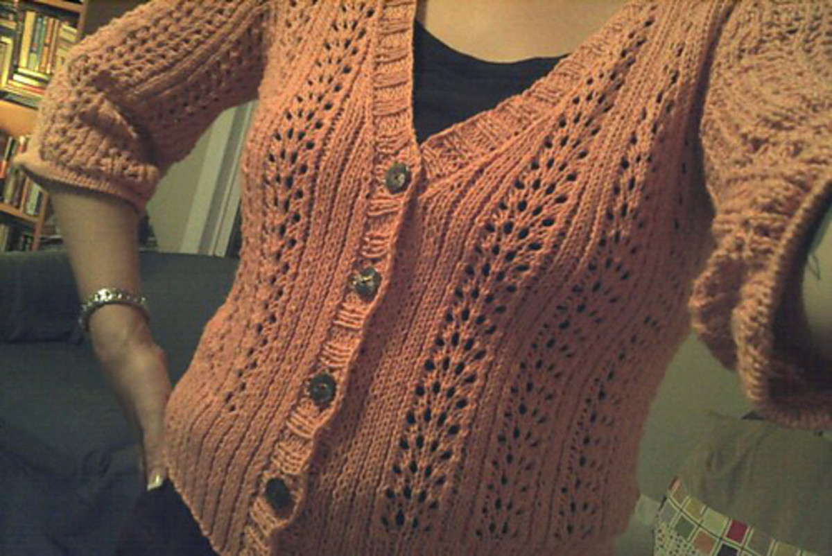 A good gauge swatch, done with patience, means a good fit. The Double V Cardigan, from Interweave Knits.