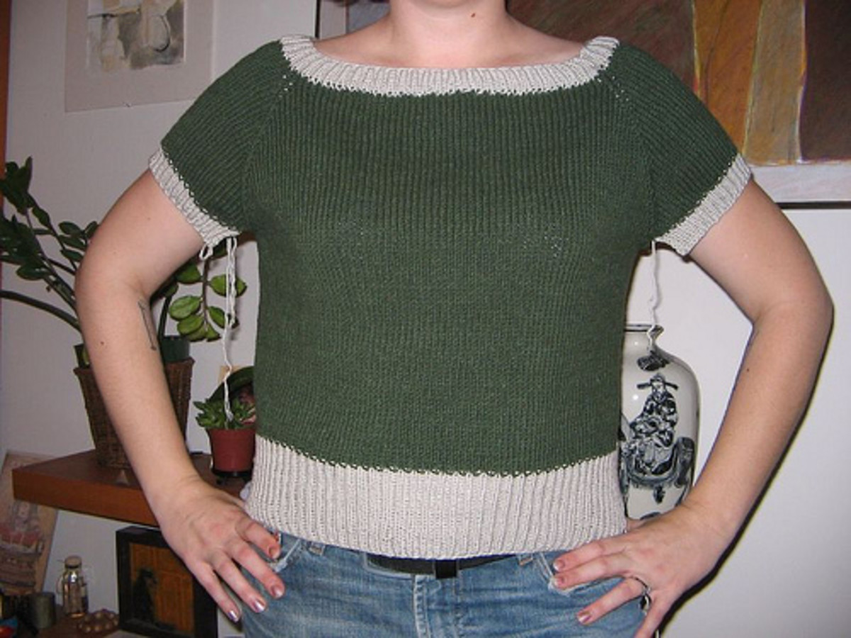 Far too wide, and much too short. Bad, bad, bad. I knit this same garment three times before giving up, rewinding the yarn, and making a tank top instead. It was too big and I gave it away. Do a gauge swatch!