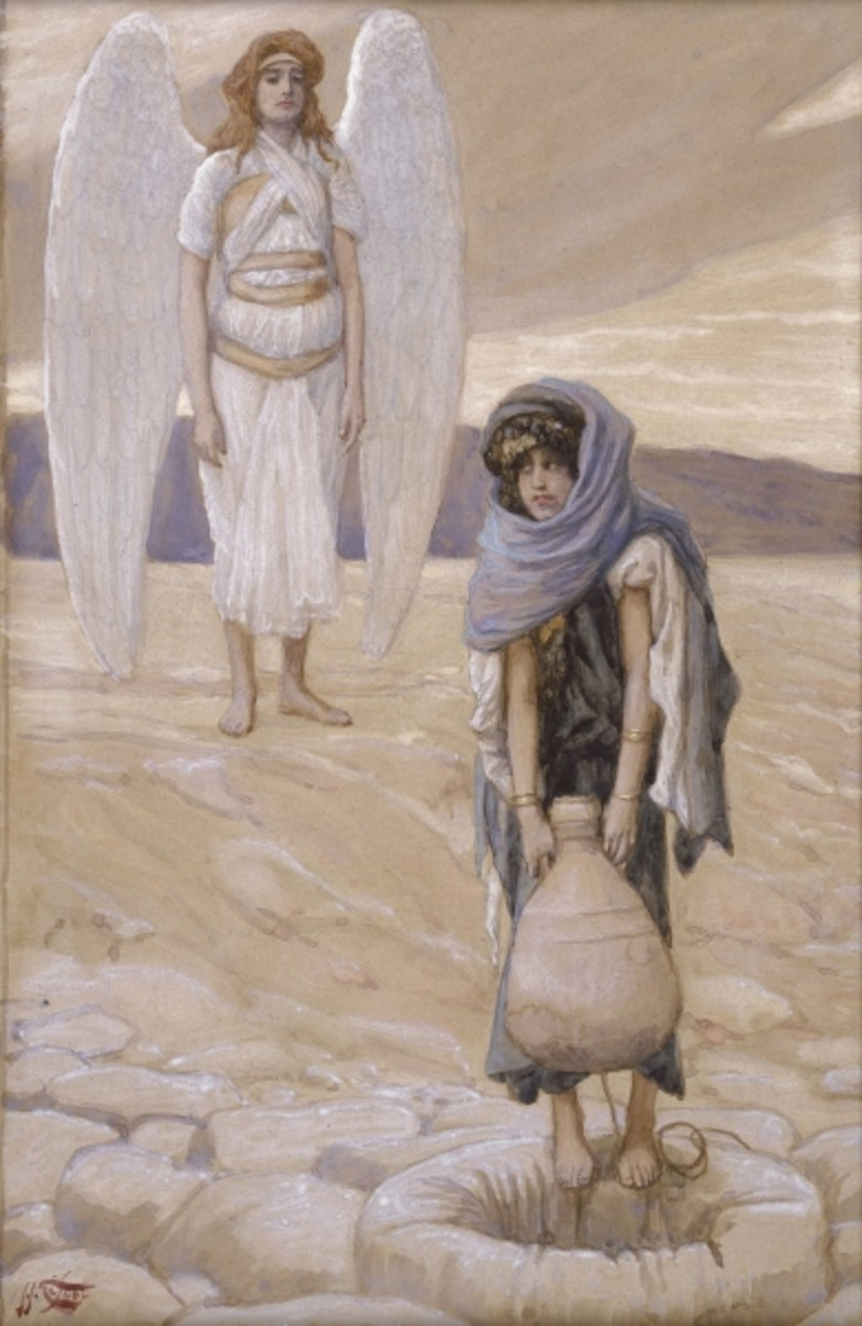 Hagar in the Desert.  Painting by James Jacques Joseph Tissot