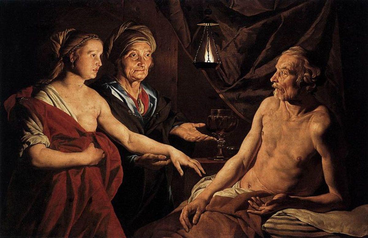 Sarah leading Hagar to Abraham
