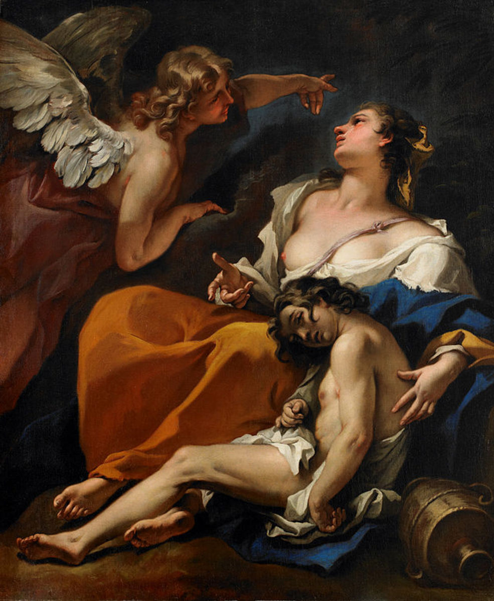 Hagar and Son Saved by the Angel.  Painting by Sebastiano Ricci