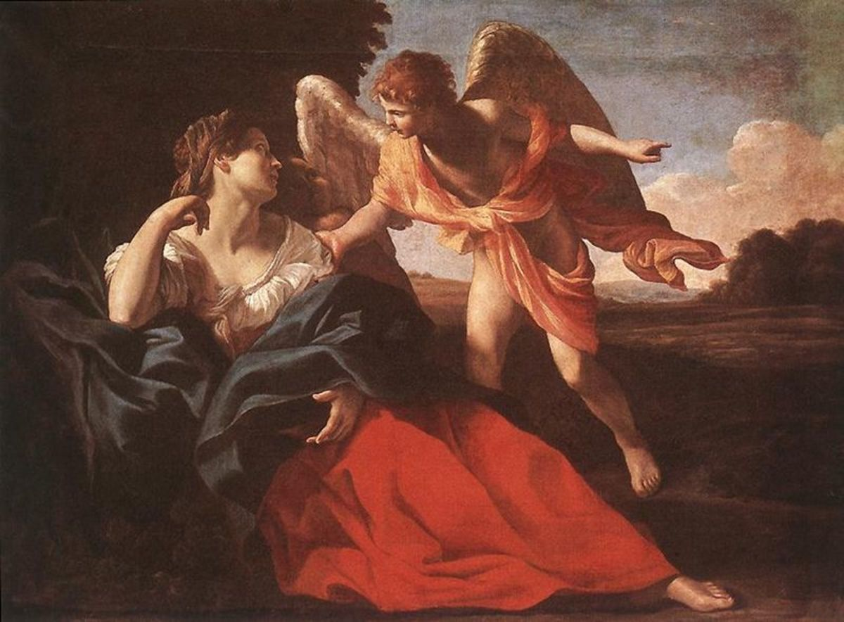 Hagar in the Wilderness.  Painting by Giovanni Lanfranco