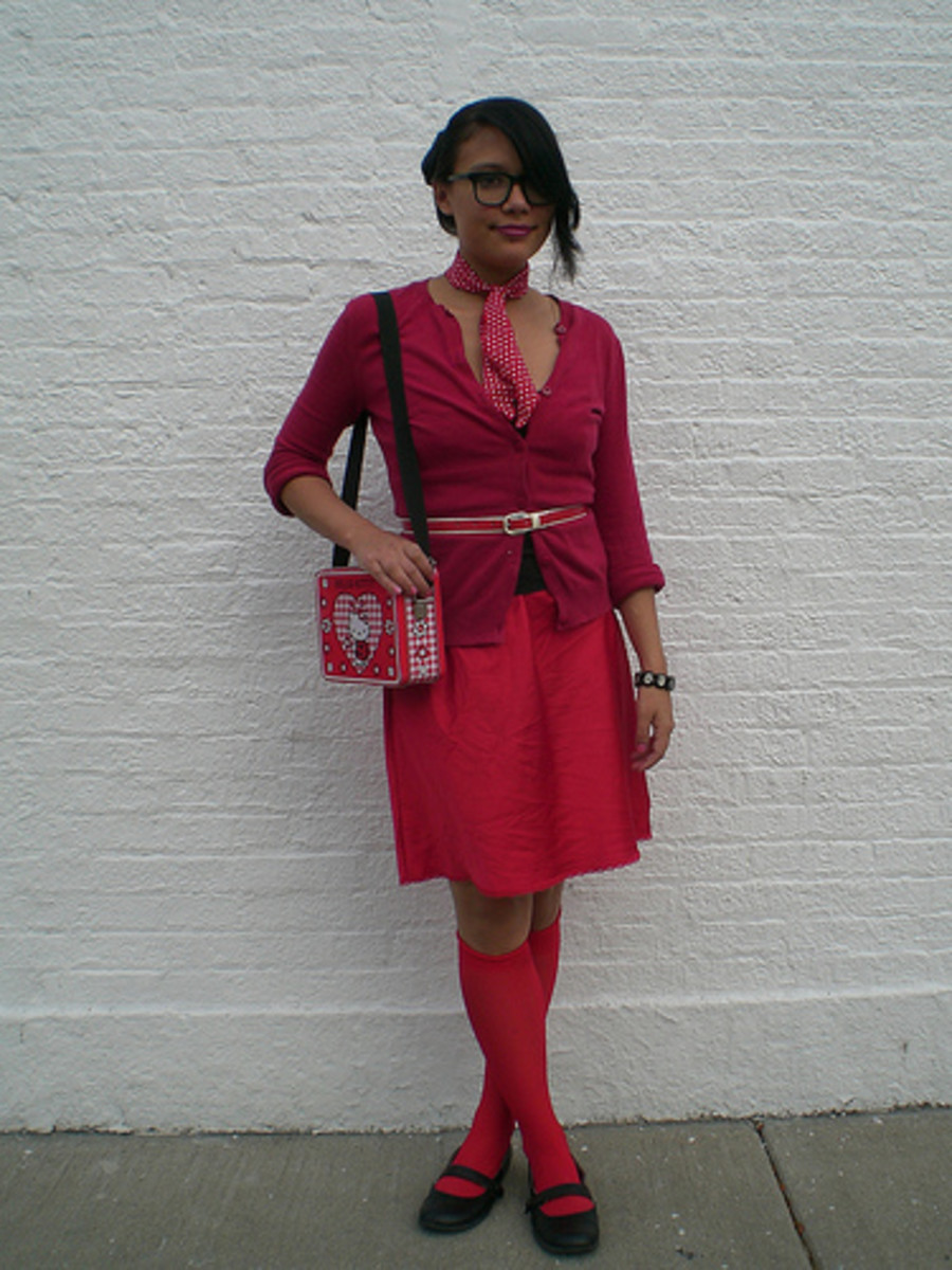 Accessories: Lunch box bag, knee-high socks, Mary Jane shoes, skinny belt, patterned scarf, black bangle, and thick-framed