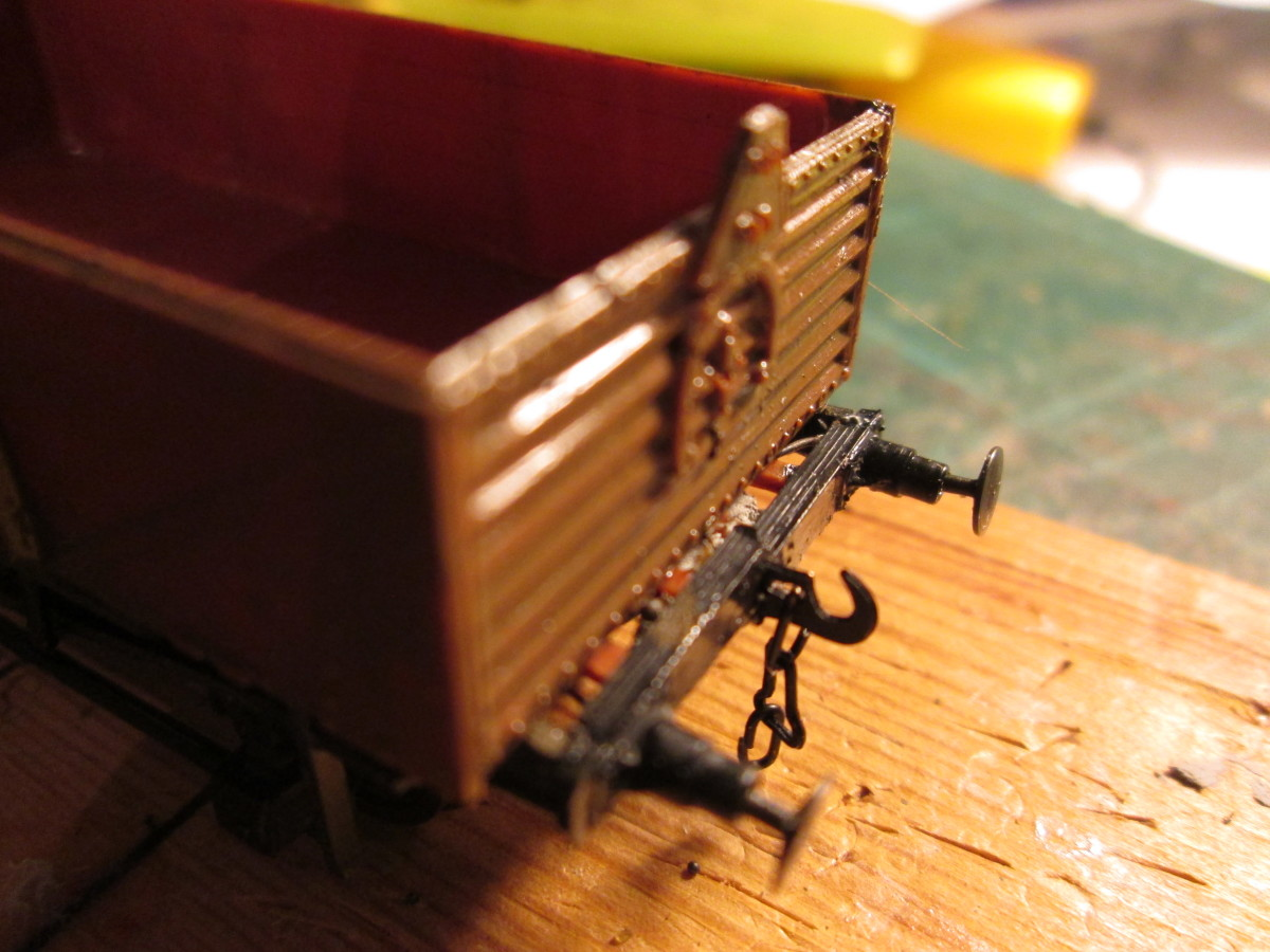 In the course of completion, at the painting stage, a 'Shoc open' wagon also for breakables. Both Peco Parkside models with decals included. Top rails were discarded in later years, fittings left in situ