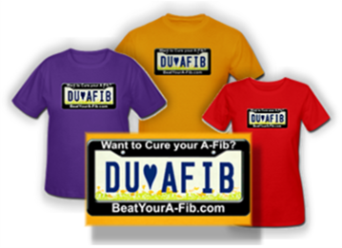DU A-Fib License plate T-shirts from our fund-raising shop to support A-Fib.com
