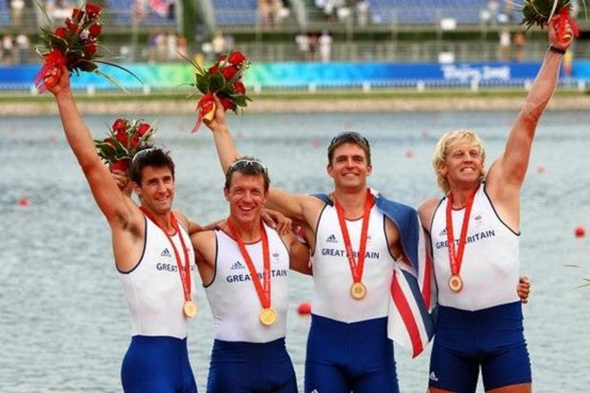 2012 OLYMPIC GOLDEN BOYS ... Tom James (left) in Beijing with Steve Williams, Pete Reed and Andrew Triggs Hodge