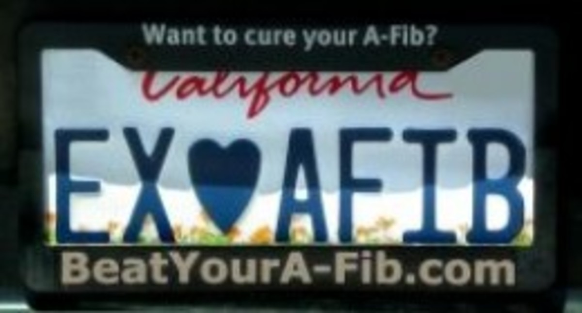 Our car license plate declaring my Ex-A-Fib status.