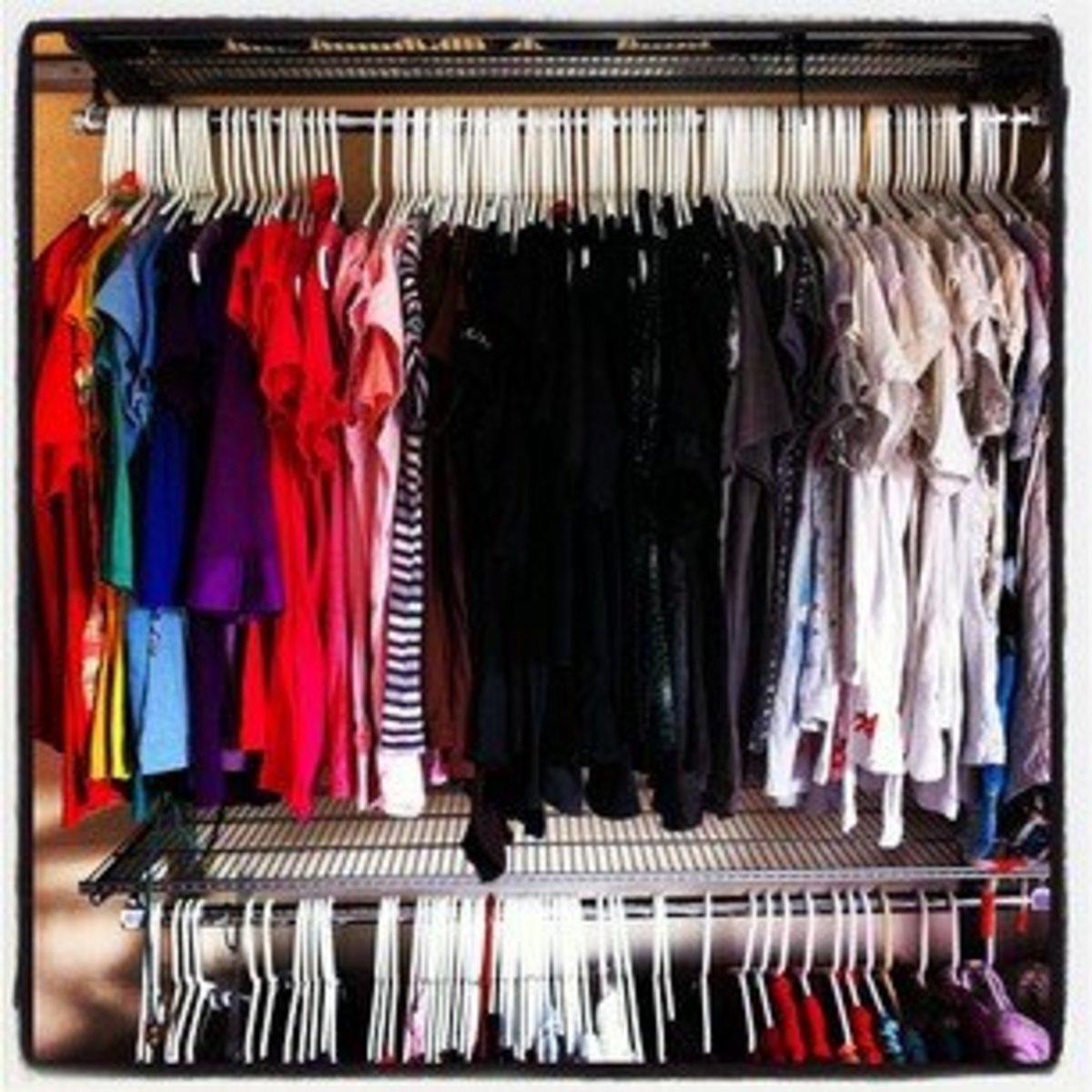 How to organize your clothes closet by type and color step for How to color organize your closet
