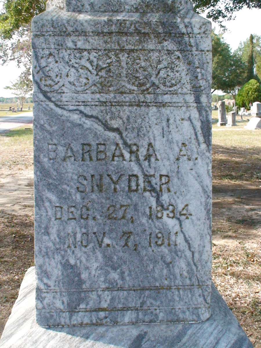 Barbara Snyder's inscription.