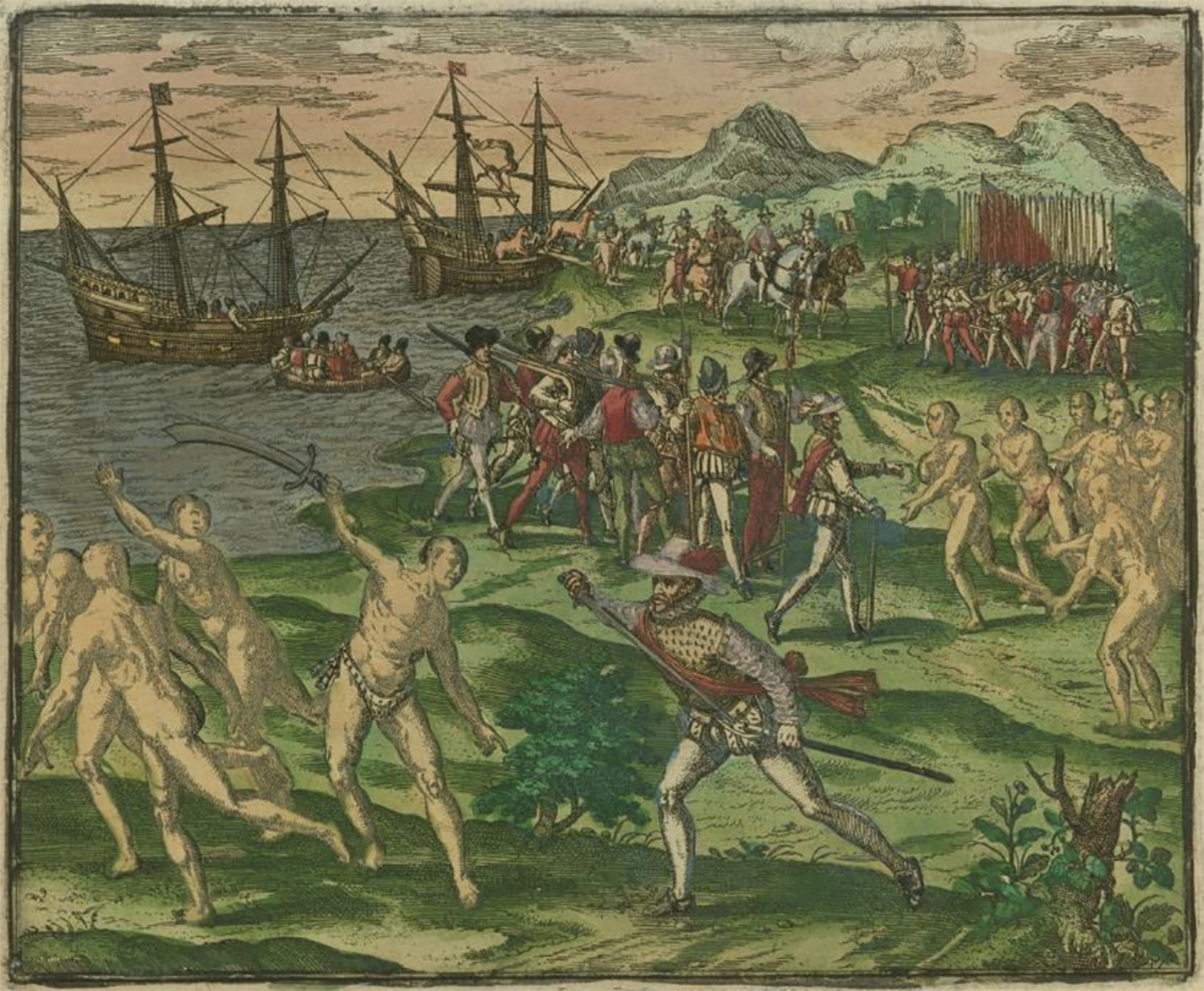 An image from 1595 depicting conflict between Native Americans in Mexico and Spanish colonists led by Francisco de Montejo. Courtesy of the John Carter Brown Library at Brown University