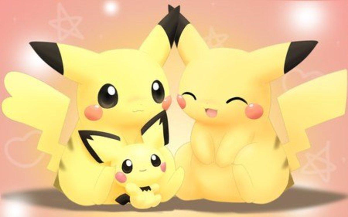 Pikachu and Pichu, one seriously cute Pokemon family