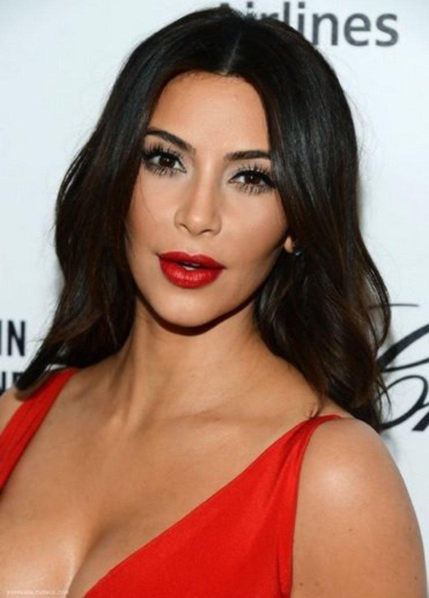 Kim Kardashian in Crimson Lipstick