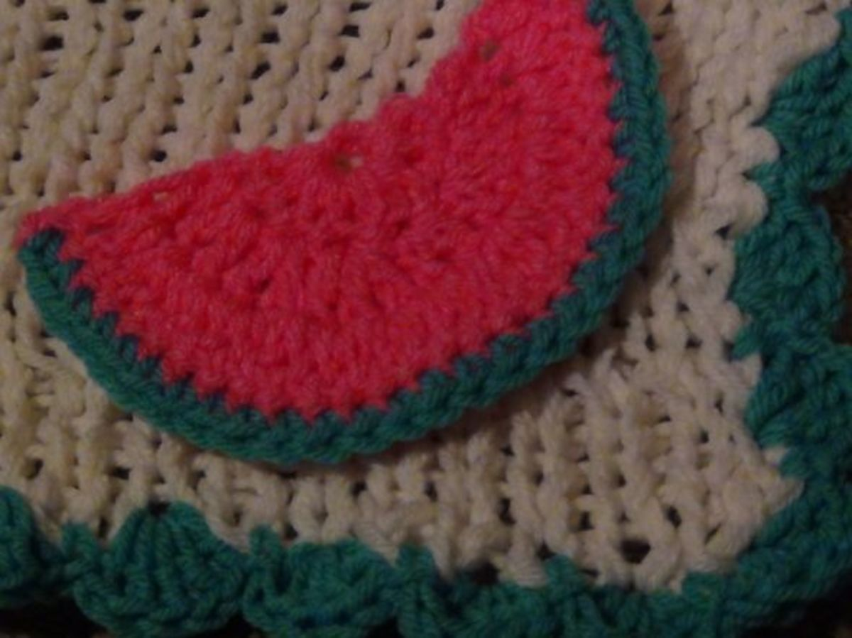 In this photo, I added a border to the blanket t match the green in the watermelon.