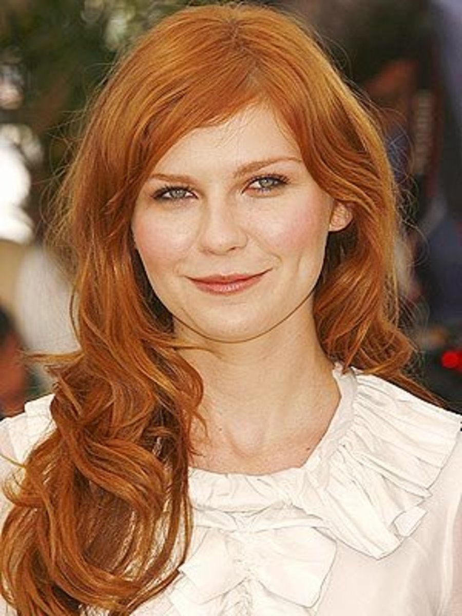 Kirsten Dunst with Red Hair and Blue Eyes