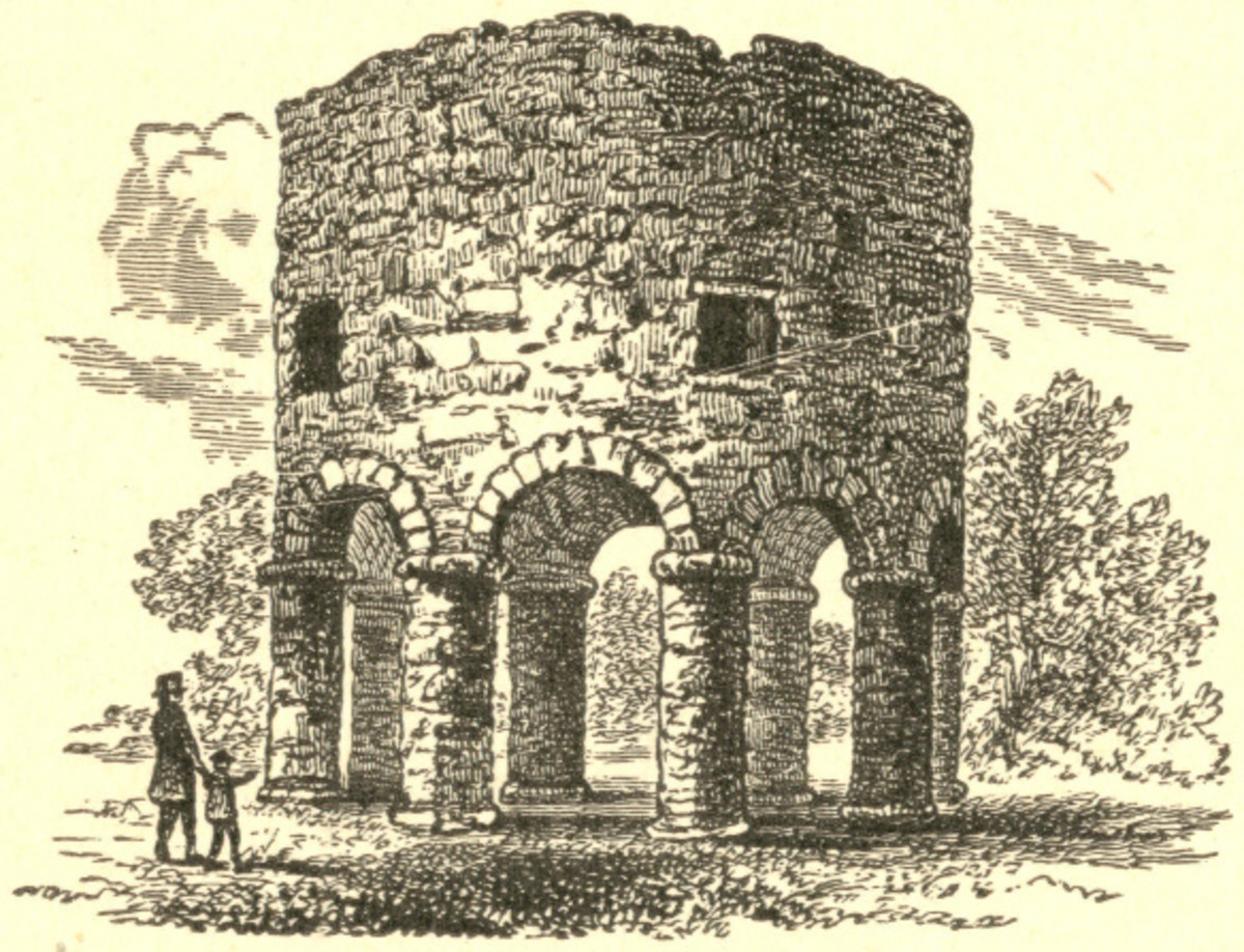 a 19th century engraving of The Newport Tower from History of the United States, Vol. I (of VI), by  E. Benjamin Andrews