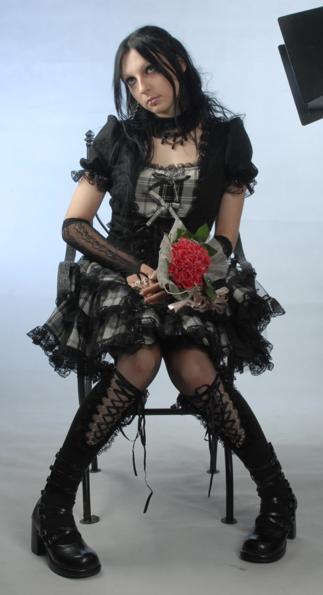 A glamorous Gothic pose and costume!