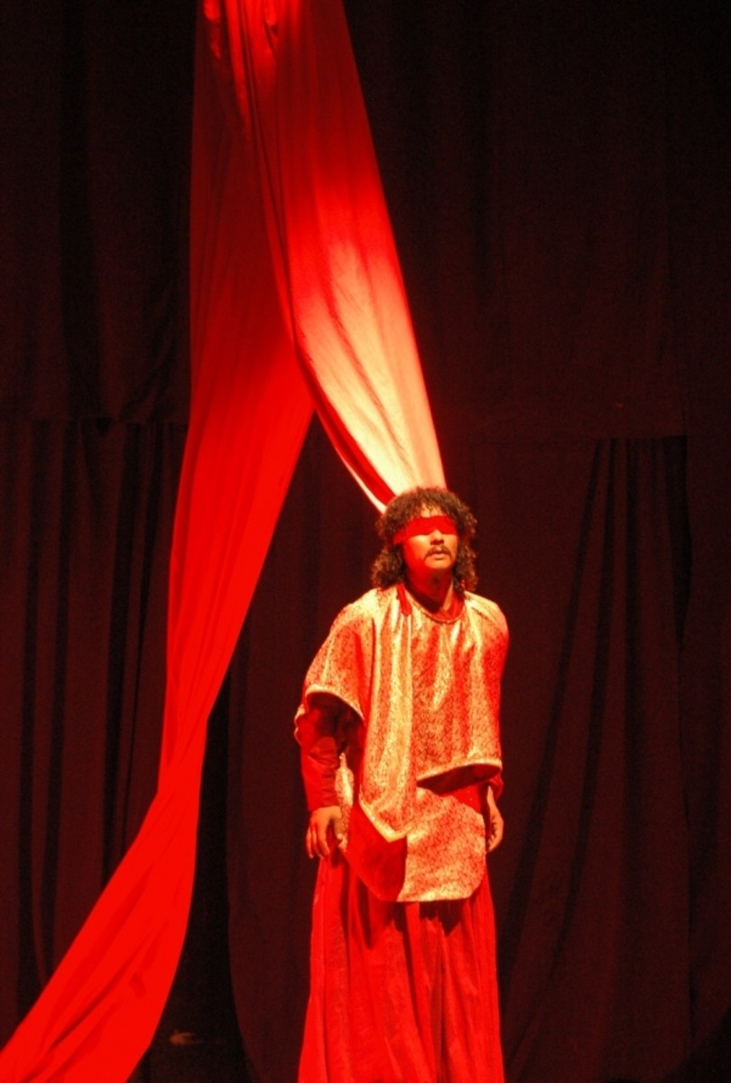 Saugat Malla as Oedipus in the play performed in Kathmandu, Nepal