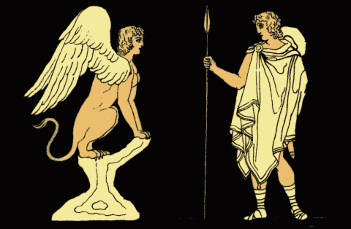 Oedipus and the Sphinx (in public domain) from wikimedia commons via Project Gutenberg