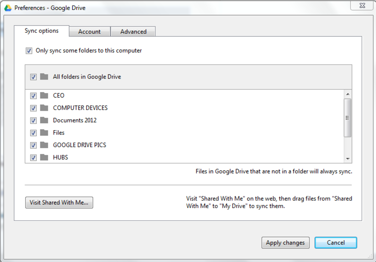 Google Drive preference settings