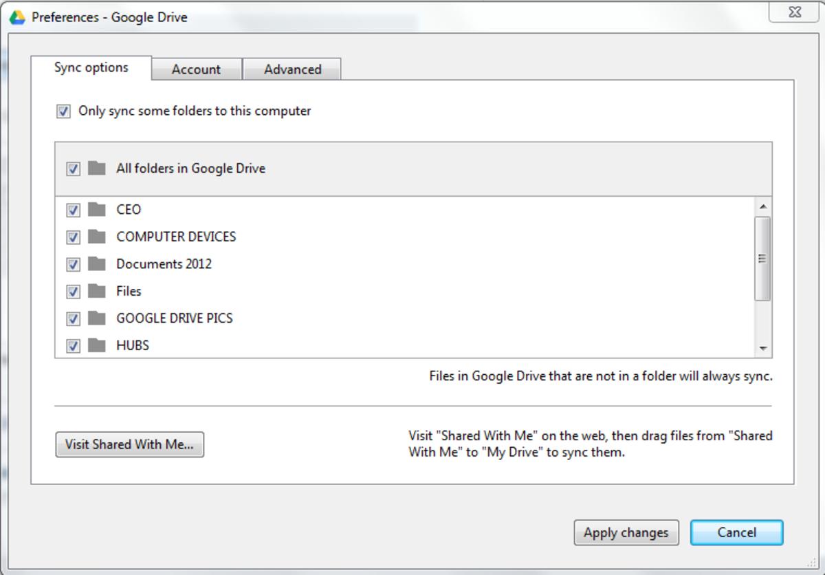 Google Drive preference settings