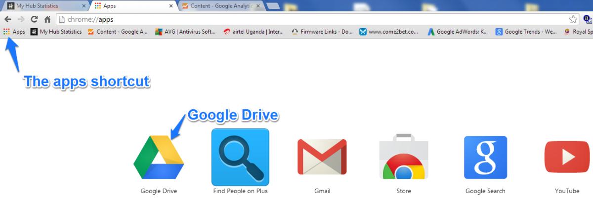 Image 1: Google apps shortcut on the bookmarks bar
