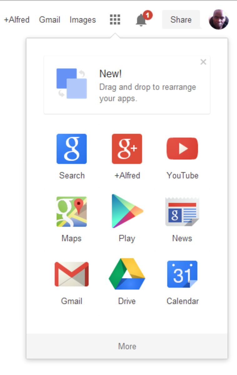 Image 3: The app launcher at the top right of the browser