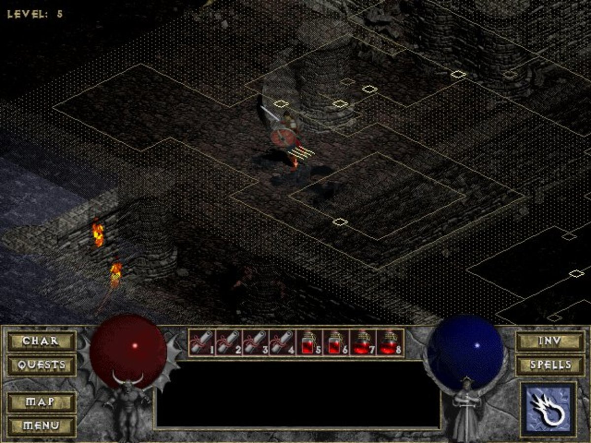Diablo's auto-mapper (ALT). You can use the arrow keys to move the map around to see areas that are not shown.