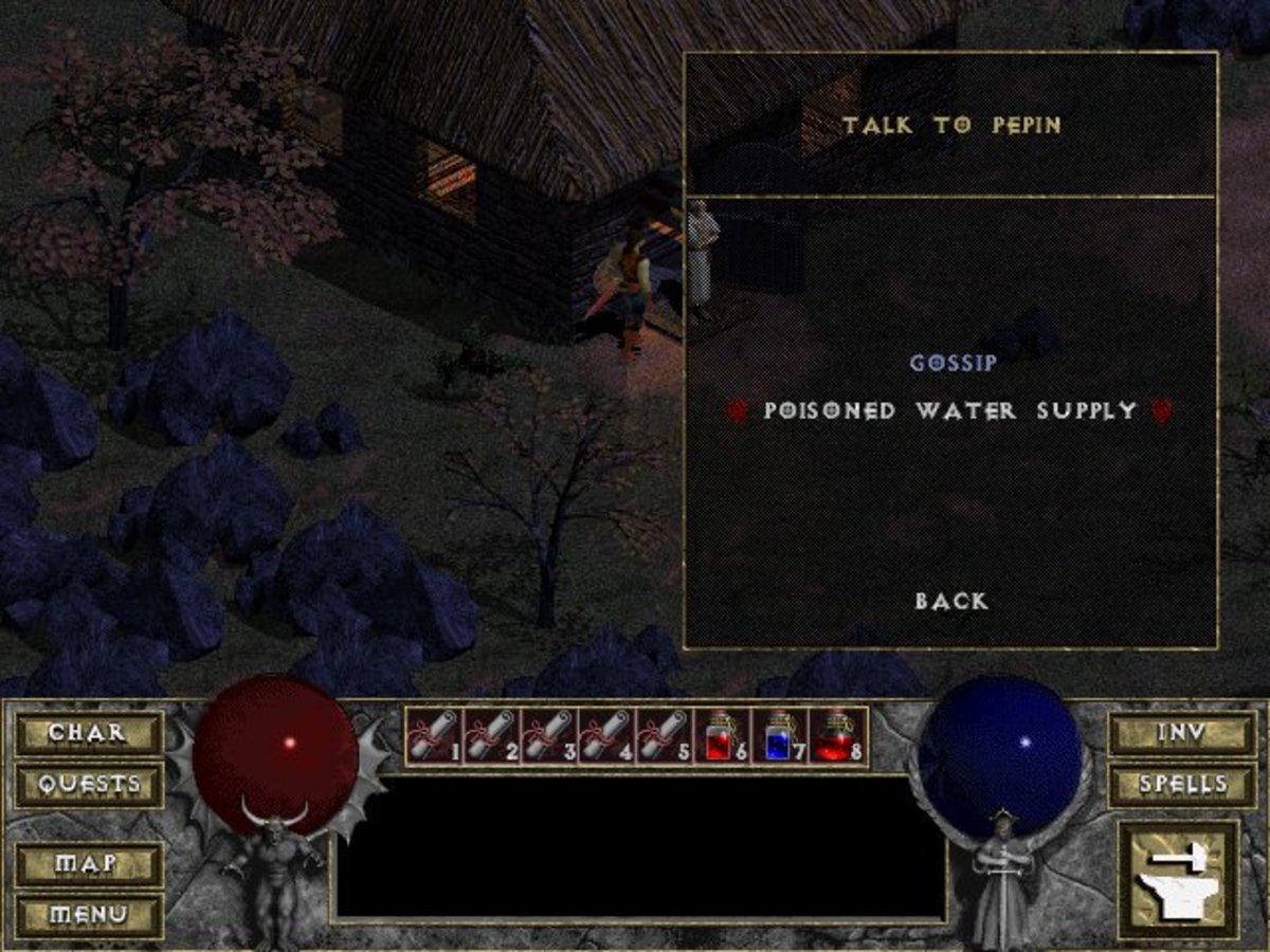 Diablo doesn't have very many quests, but all of the NPCs have something to say about them.
