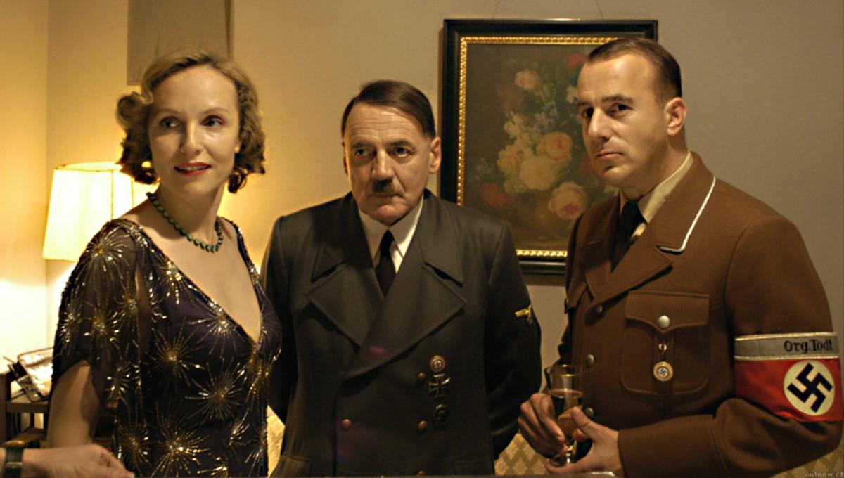 Eva Braun with  Adolf Hitler and Albert Speer in the bunker