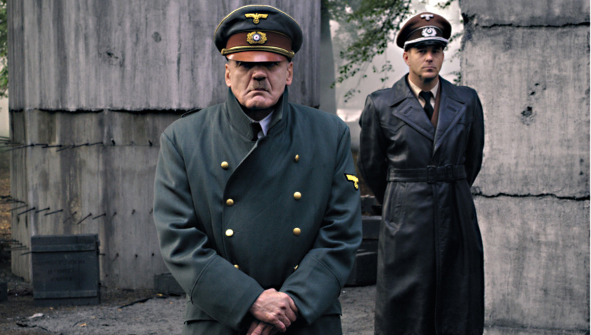 Bruno Ganz as Adolf Hitler and Heino Ferch as Albert Speer attend a medal ceremony for the defenders of Berlin - an authentic scene which in real life became the last captured film footage of the Nazi leader