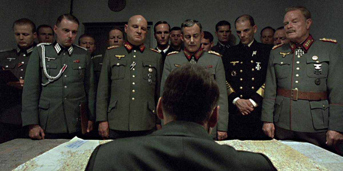 Adolf Hitler addresses his generals - some loyal supporters, some exasperated by the Fuhrer's detachment from reality, and some becoming increasingly resigned to their fate