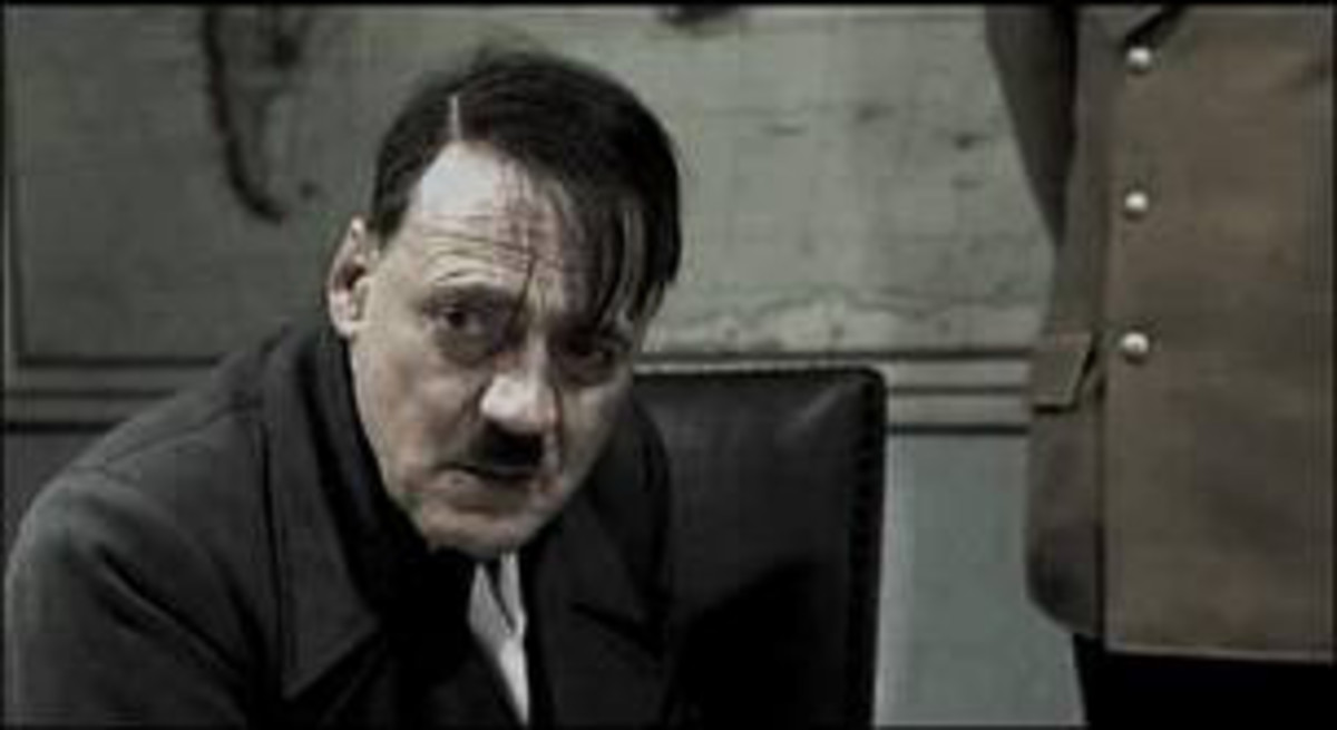 A haggard looking dictator faces the end of his dreams. Bruno Ganz as Adolf Hitler