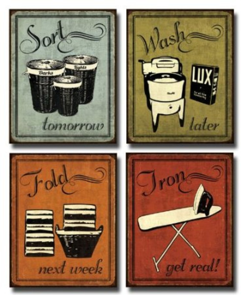 Vintage laundry set  - art posters