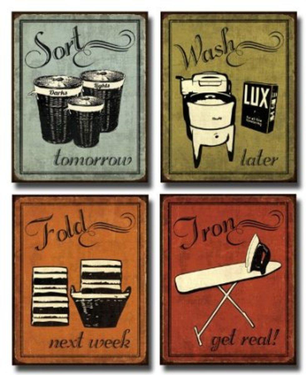 Vintage laundry set  - art posters