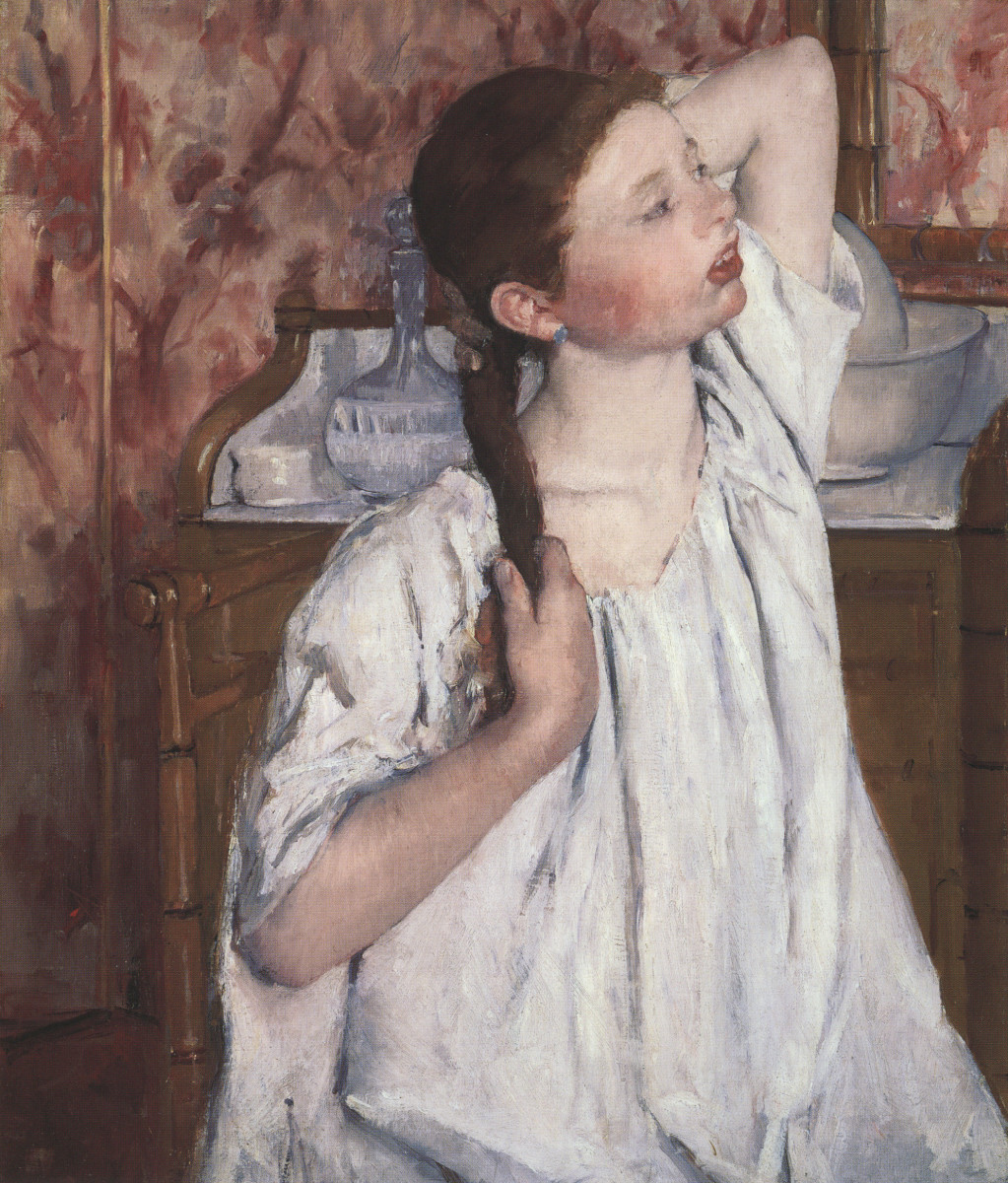 """Girl Arranging Her Hair,"" by Mary Cassatt, 1886, oil on canvas. National Gallery of Art, Washington D.C."