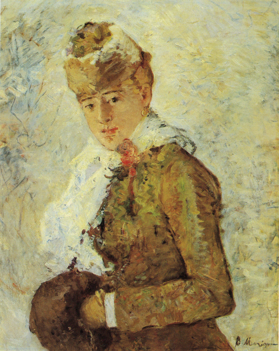 "From a postcard of ""Woman with a Muff"" (""Hiver"") by Berthe Morisot, 1880, oil on canvas, The Dallas Museum of Art. Photographer: unknown."