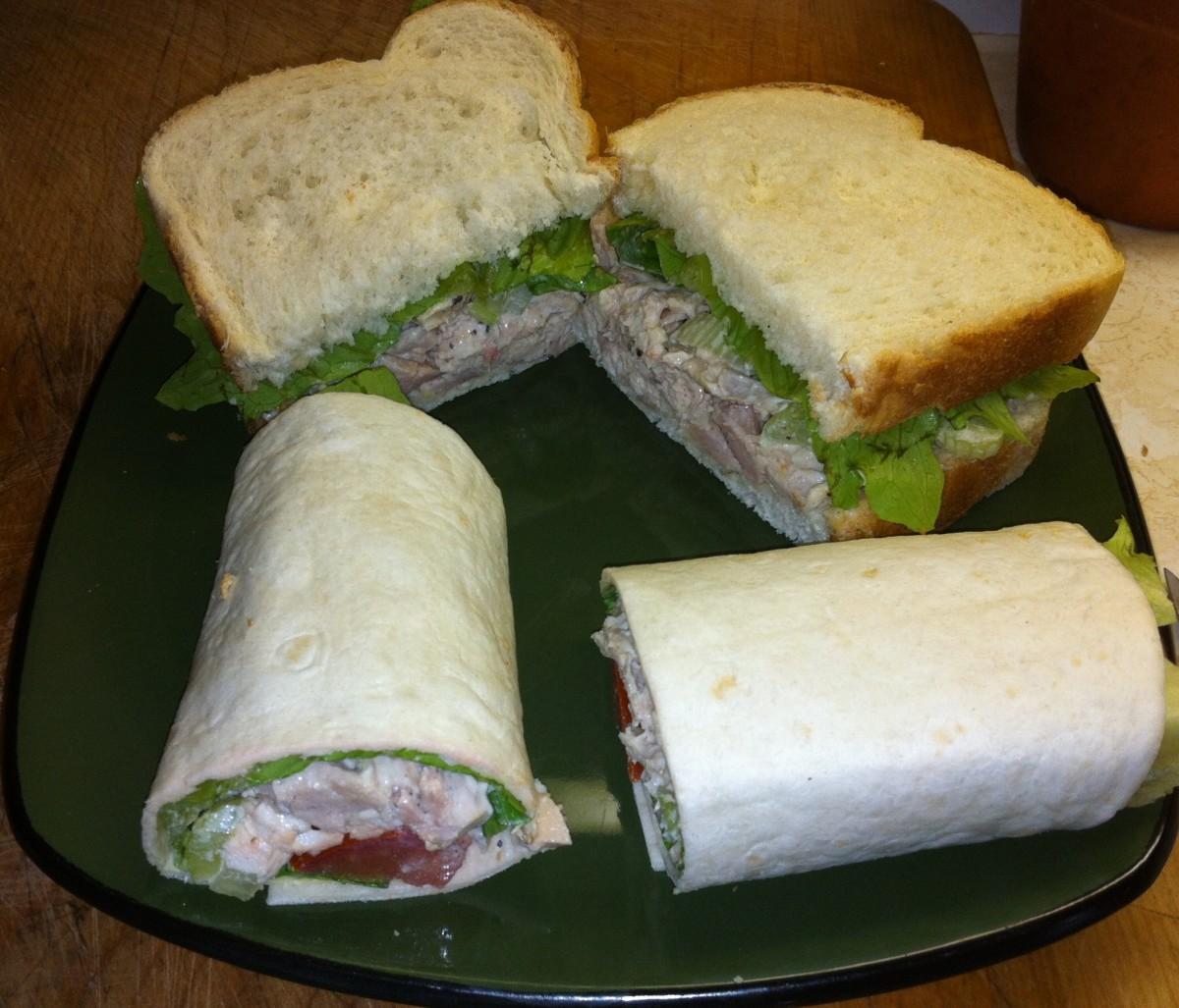 Egg Salad Sandwich on White   Egg Salad Wrap
