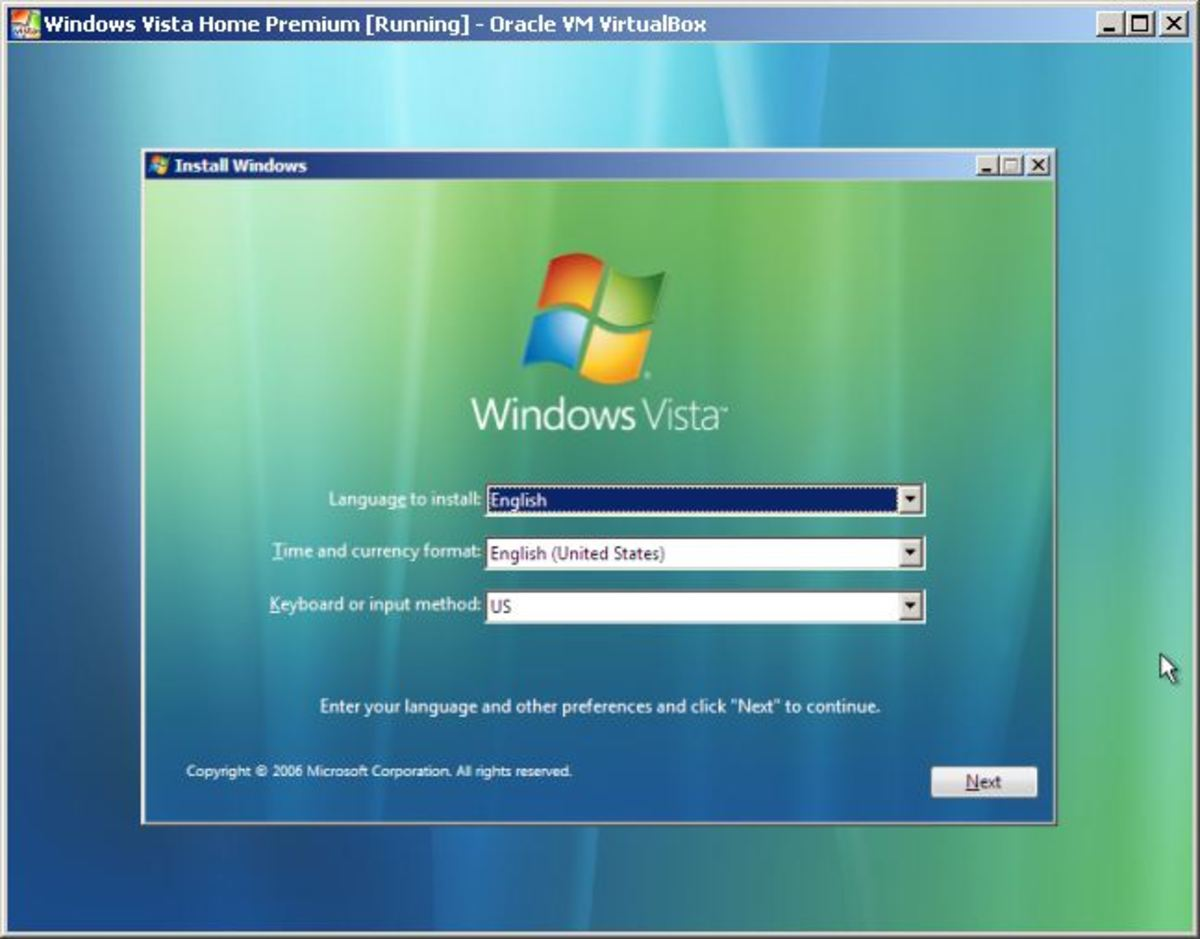 The first step to install Windows Vista.