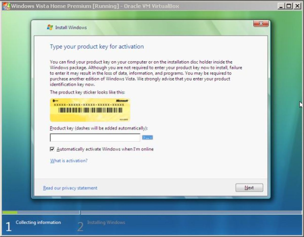Entering the Windows Vista product key.