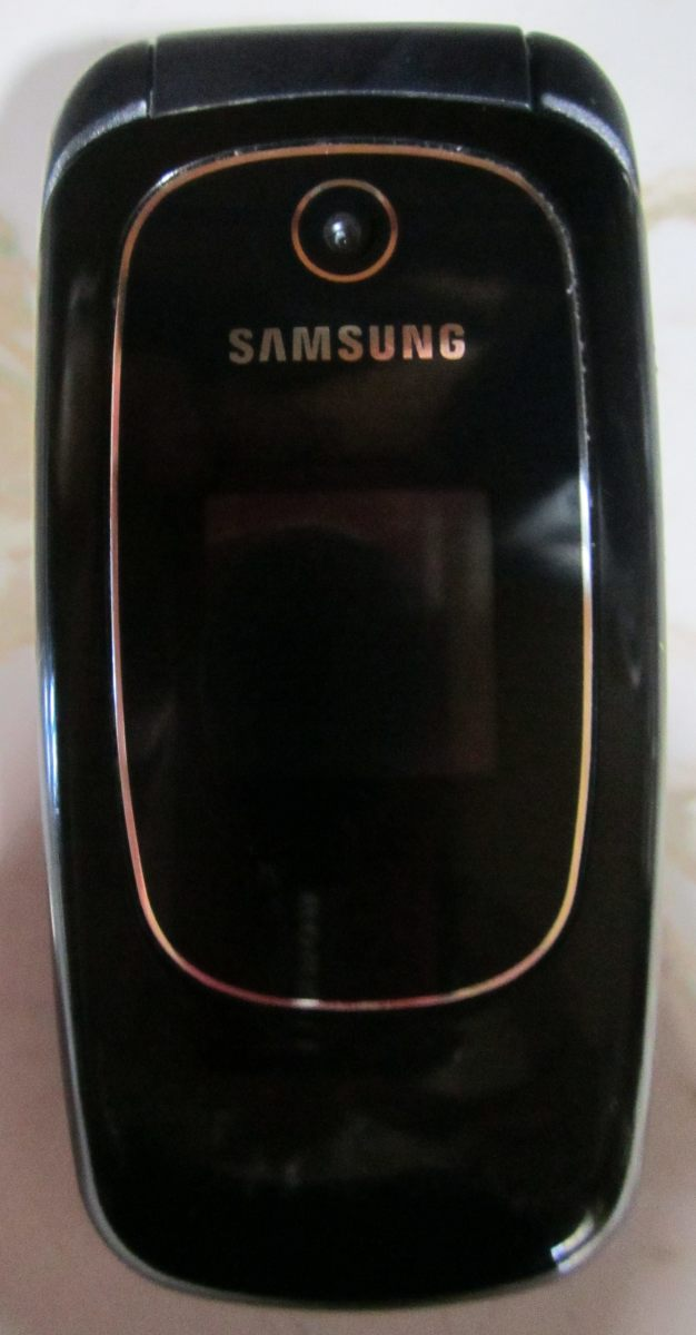 My Samsung flip phone. It came with my Straight Talk plan.