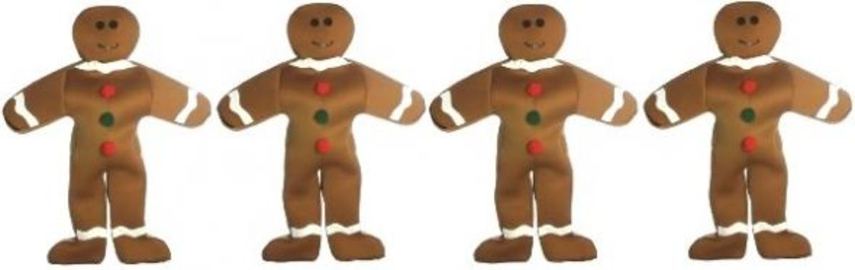 Gingerbread Man Adult Group Costume Set Of 4