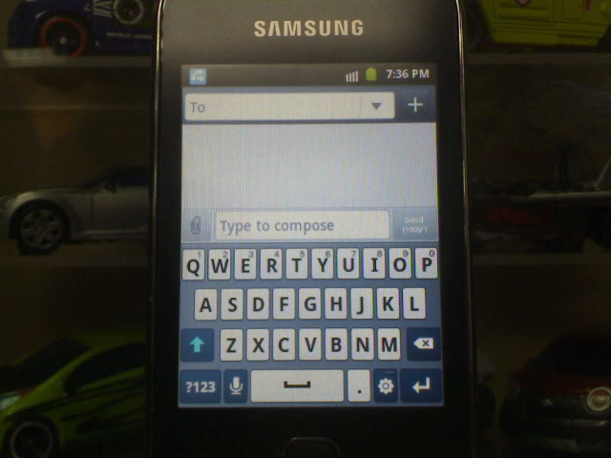 Vertical keypad view of Galaxy Y