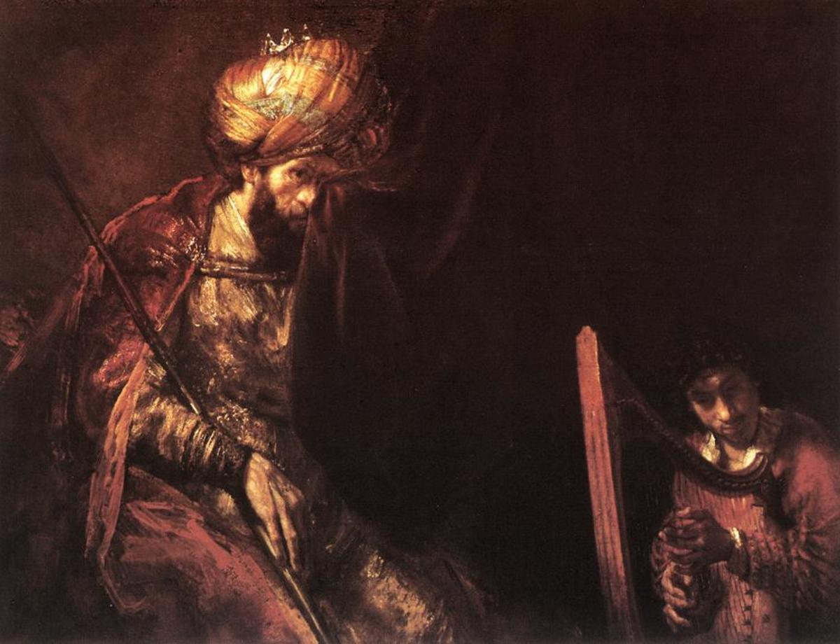 'David Playing The Harp Before Saul' by Rembrandt