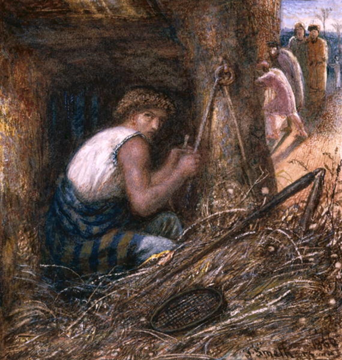'Saul, Hiding Among The Stuff,' by James Smetham (1866)