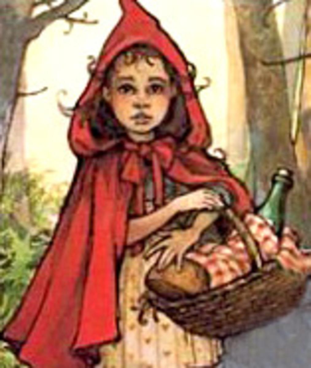 Red Riding Hood bringing Grandma basket of snacks and bottle of wine
